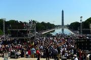 A view of the mall looking at the Washington monument.