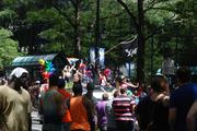 Spectators lined Tryon Street to watch the Charlotte Pride parade on Sunday.