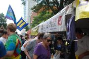 The Human Rights Campaign used its tent to sign up new members and gather signatures in support of the Employment Non-Discrimination Act.