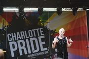 A performer entertains the crowd at the Charlotte Pride festival.