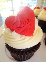 """""""Ole Faithful""""  House made red velvet cake topped with Rise vanilla buttercream and red rise heart"""