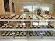 """Pictured: The cupcake display at Rise.  Another big focus for Todd is the shop's atmosphere.  """"People want to go to cool, unique places, and they want to sit down. Ours is more geared towards a family community and lots of kids,"""" Todd said. """"There's always kids; after school this place is crazy."""""""