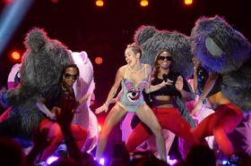 Miley Cyrus performs during the 2013 MTV Video Music Awards at the Barclays Center on August 25 in Brooklyn, New York.