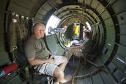 Guests check out the inside of one of the military aircraft.