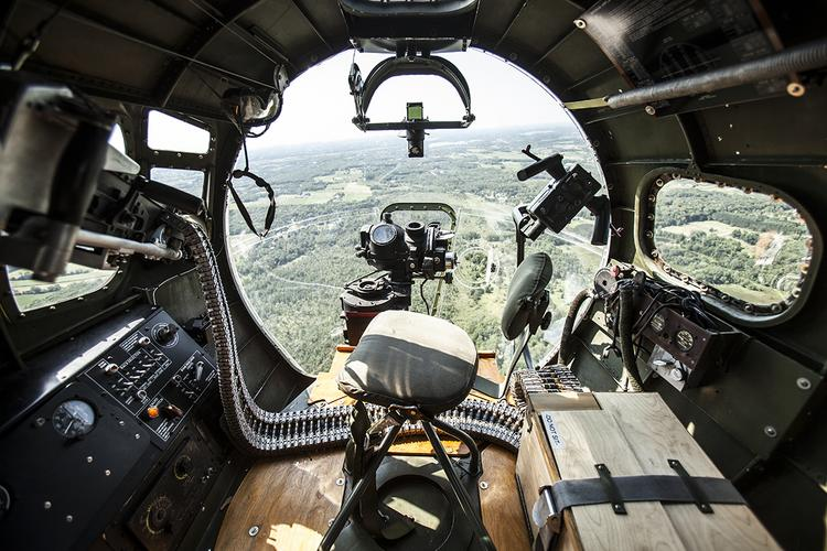 A view out of the World War II B-17 bomber, while it flies over Waukesha County