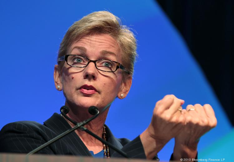 Jennifer Granholm, former governor of Michigan, speaks during the Center for Automotive Research Management Briefing Seminars in Traverse City, Mich., in 2010. She has been appointed to the board of directors of Talmer Bancorp, which has 14 Talmer Bank & Trust branches in southern Wisconsin.