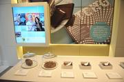 Umpqua Bank's San Francisco flagship location features a rotating exhibit of unique offerings from local companies. The branch opened with the quarterly exhibit highlighting San Francisco-based TCHO Chocolate.