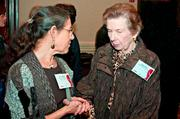 Alix Smullin of the Harvard School of Public Health and Regina Villa of Salem State University in conversation during the social hour at the Boston Business Journal's Advancing Women breakfast held at the Sheraton Boston.