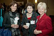 Appearing to have a good time during the social hour at the Boston Business Journal's Advancing Women breakfast were Margaret Coughlin of Boston Children's Hospital, Ruth Aaron of Aaron & Associates and Boston Children's Hospital's president and COO Sandra Fenwick, keynote speaker at the event.