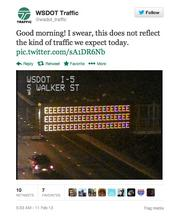 """Mike Allende says his tweets tend toward the """"snarkier"""" side, compared to his teammates behind the WSDOT Traffic Twitter account @WSDOT_traffic."""