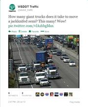 A tweet by Harmony Haveman of the Washington Department of Transportation social media team behind the WSDOT Traffic Twitter account @WSDOT_traffic.  Tweeting for WSDOT sometimes calls for just the facts, but when appropriate the team adds a bit of humor to the posts.