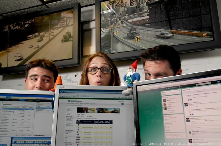 The Washington Department of Transportation social media team behind the WSDOT Traffic Twitter account @WSDOT_traffic are Mike Allende, Harmony Haveman and Bart Treece.  All three are former reporters and also handle media relations at the WSDOT Northwest Region traffic management center.