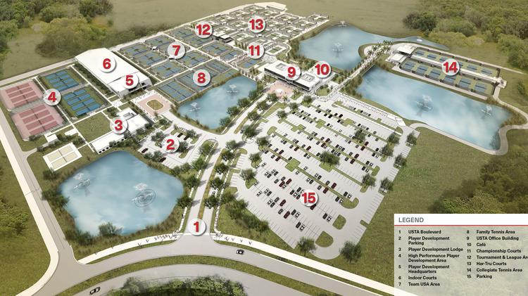 This rendering shows the full layout of the new USTA National Campus in Lake Nona. Tavistock is seeking approval from the city of Orlando to further develop land near the campus.