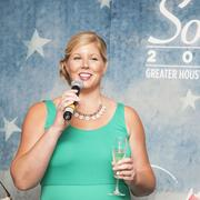 Soiree Committee Chair Allison Esenkova welcoming guests at the VIP reception for the 2013 GHP Soiree.