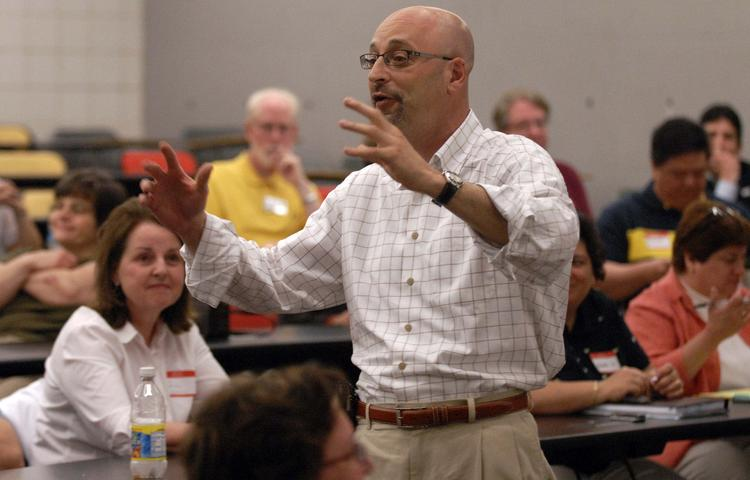 Todd Cohen, co-leader of Career Transitions, speaks to the group at a meeting in Villanova.