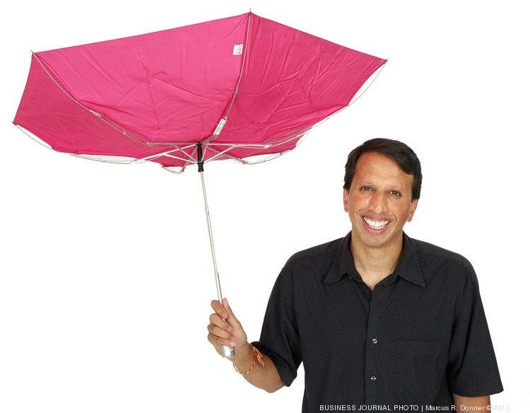 2013 PSBJ 40 under 40 honoree Nikesh Parekh, Executive Vice President and Product Leader, at Market Leader, Inc. and CEO of Active Rain.  Active Rain's symbol is an umbrella and Parekh has a little fun with this one. Market Leader was acquired by Trulia Inc.
