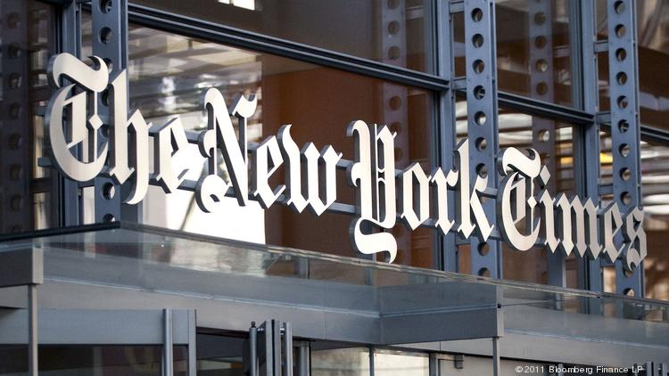 New York Times Co. signage is displayed on the company's building in New York.