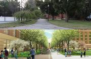 A faded, overgrown walkway going west from High Street past several dorms will be significantly improved under Ohio State's plan.