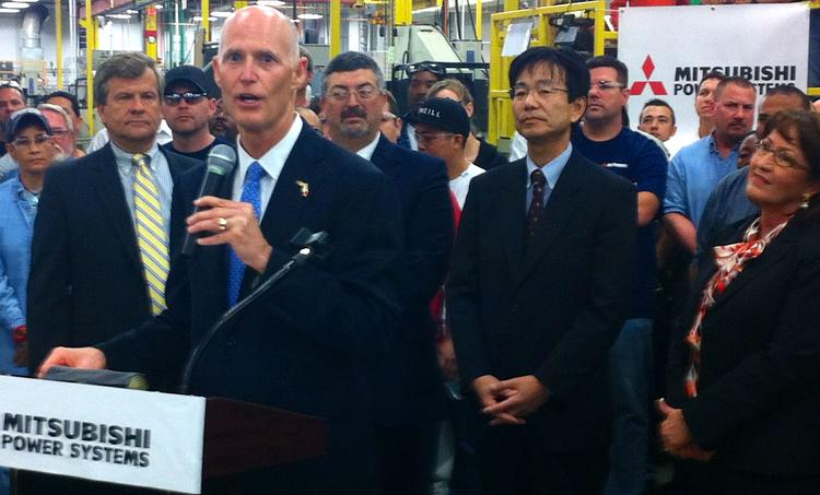 Florida Gov. Rick Scott announced March 18 the state's January unemployment rate and pushed to eliminate the sales tax on equipment purchased by manufacturers at Mitsubishi Power Sytems in Orlando.
