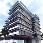 Office/restaurant building proposed along waterfront site in Miami-Dade
