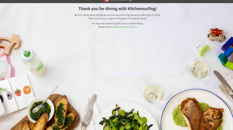 kitchensurfing an on demand chef app has shuttered leaving a farewell notice - Kitchen Surfing