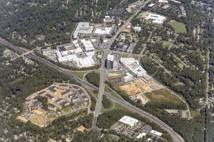 Aerial view of the North Hills mall area.