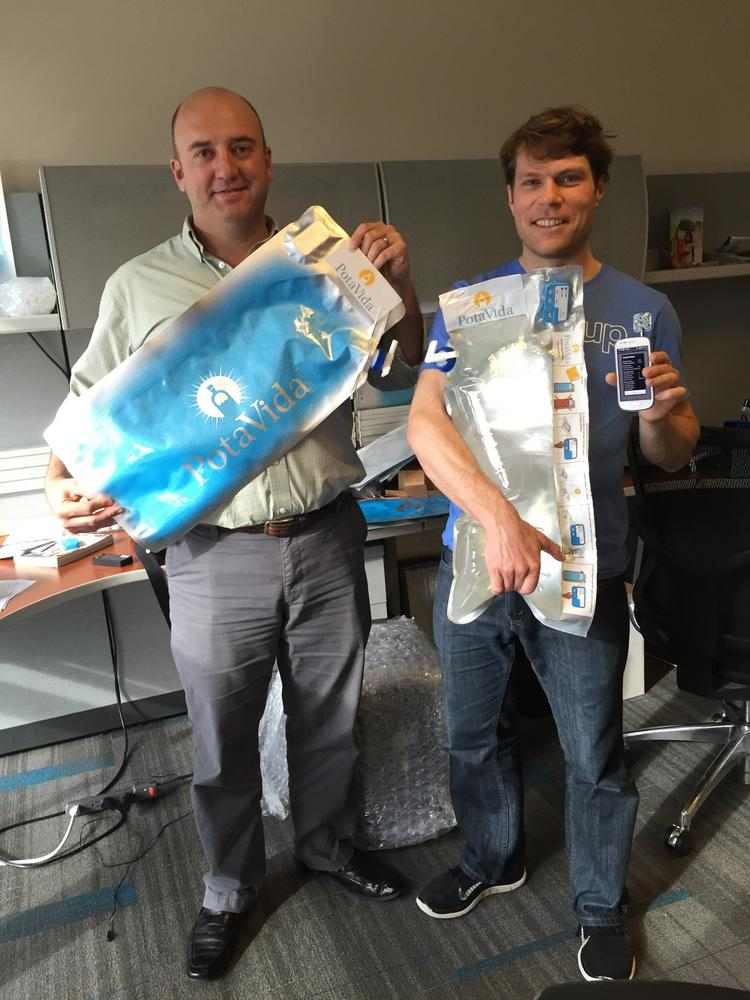 PotaVida co-founders Tyler Davis (left) and Charlie Matlack are headed to Haiti to test their startup's water purification bags, which use the sun's ultraviolet rays to clean contaminants from water.