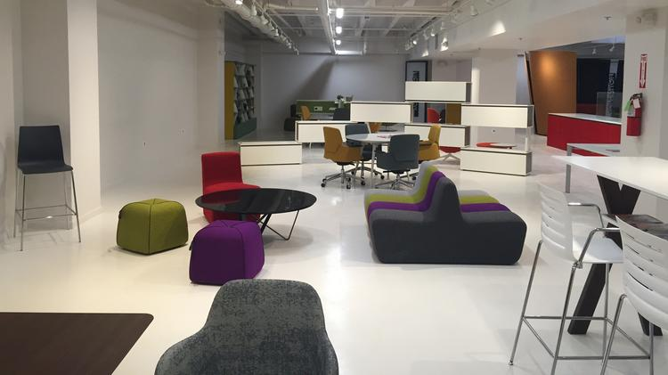 dallas showroom showcases its office furniture which includes desk and storage systems office