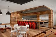 A modern kitchen for socializing was an important facet of Peddle's new offices.