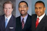 Edwin Peacock (left) is expected to be the Republican candidate for Charlotte mayor; James Mitchell (center) and Patrick Cannon (right) are the front-runners for the Democratic nomination.
