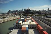 The view of San Francisco from the bridge of the Cap Corrientes. The ship has the ability to unload containers with its own cranes enabling it to serve smaller sea ports.