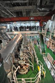 The engine room of the Cap Corrientes is the size of a large house.