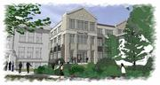 Conceptual rendering of the building as viewed from the student quad