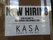 Kasa Tapas & Raw Bar, the Bento Group's newest concept, is now hiring.