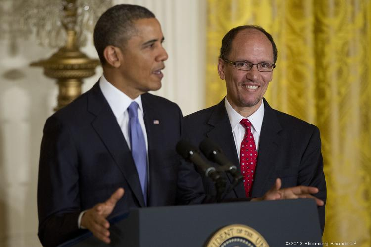 U.S. President Barack Obama, left, announces Thomas Perez, assistant attorney general at the U.S. Department of Justice, as his nominee to become labor secretary.