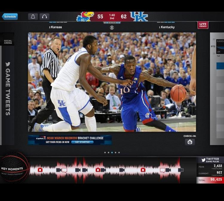 The NCAA's March Madness Live app allows users to watch NCAA tournament action on their mobile device.