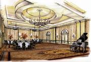 A rendering of the resort's grand ballroom, which was added after Salamander decided to add a meeting facility to the original inn concept.