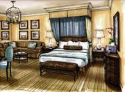 A rendering of a sample guest room — not far off from the real thing.