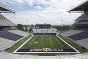 The track around the field was eliminated and the stands are closer to the field in the new Husky Stadium at the University of Washington in Seattle.