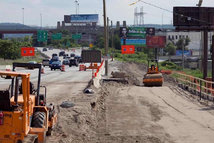 Construction work on Interstate 75 near Hopple Street continues. The project will allow Hopple Street to pass above Central Parkway to meet with West Martin Luther King Drive at grade.