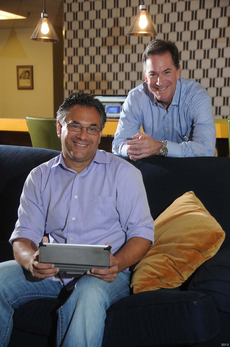 Greg Harris (left) and John Backe in their Backe Digital offices. They left traditional advertising behind as the industry's landscape transformed.