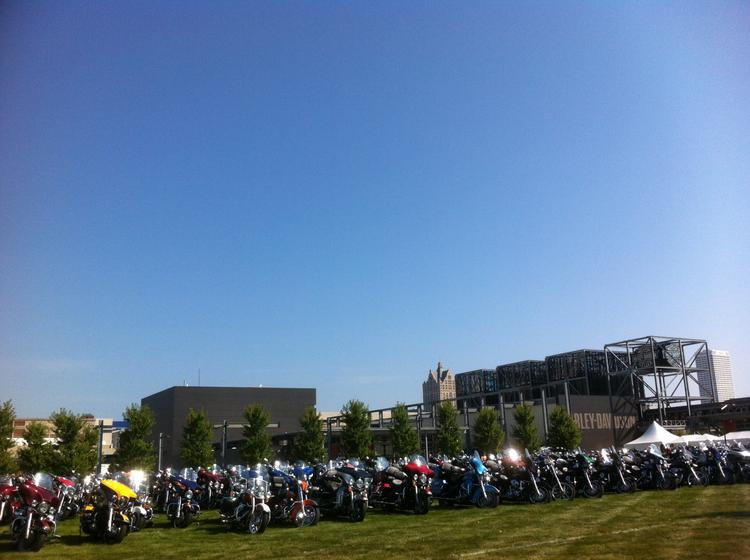 Thousands of motorcycles were parked on the lawn Thursday morning at the Harley-Davidson Museum.