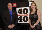 40 under 40 host Brookhaven Country Club's presenters Steve Woodhall and Amy Johnson.