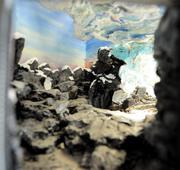 A view inside a scale model of the penguin habitat