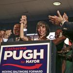 'We are moving our city forward tonight,' Pugh says after winning Democratic primary for mayor