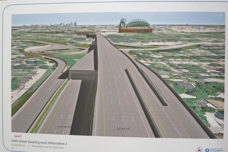 A rendering shows the proposed double-decker west of the Stadium Interchange.