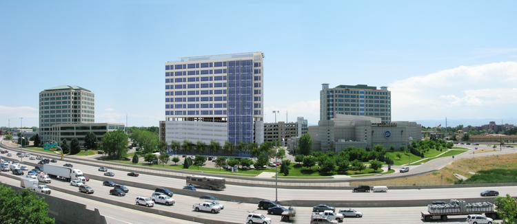 A rendering of the proposed Tower III for Colorado Center, as seen from Interstate 25.