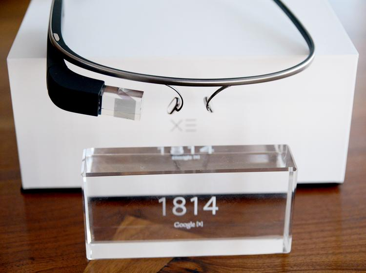 The 1,814th pair of Google Glass on a conference table at Purple Rock Scissors