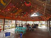 The outside patio at Chuy's in Kissimmee is lined with colorful lights.