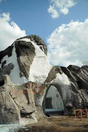 The actual penguin rock formation on the Antarctica construction site. The message of family is conveyed by the rock and reflects the focus of the attraction.